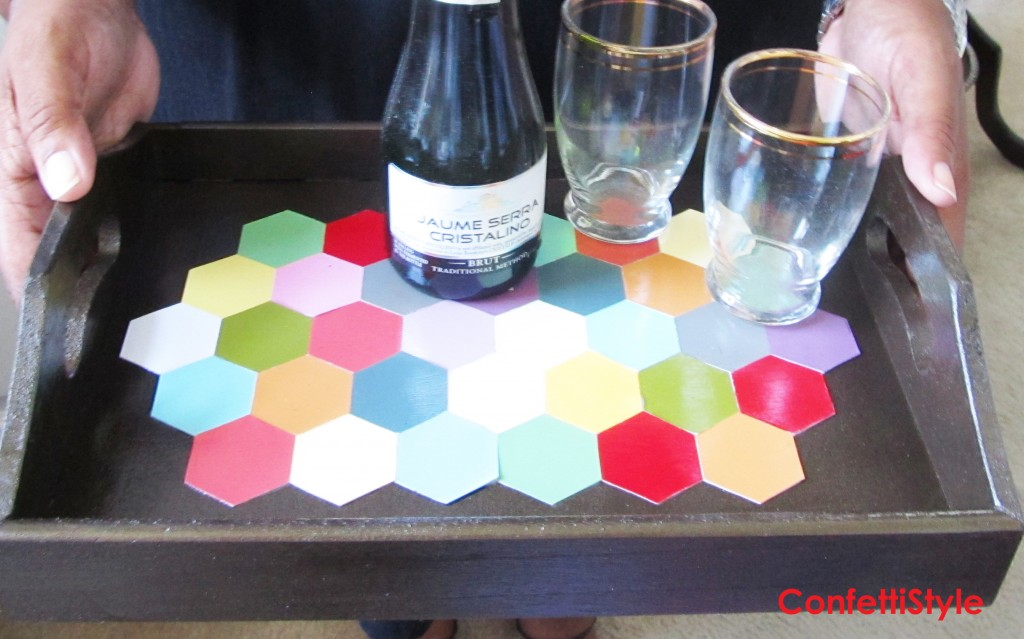 DIY Hexagon Cocktail Tray by ConfettiStyle
